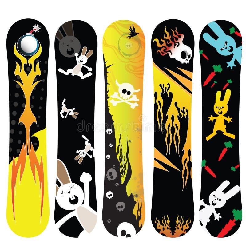Snowboarddesignkanin stock illustrationer