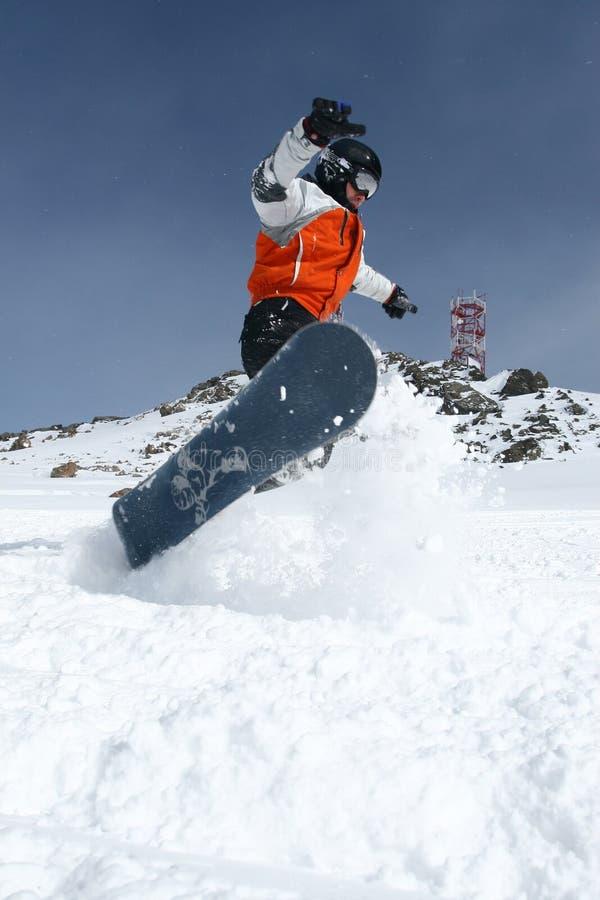 Snowboarder в движении стоковые изображения rf