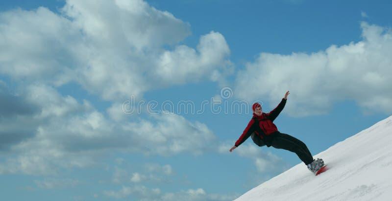 snowboarder летания стоковая фотография