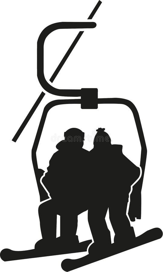 Snowboarder сидя в подвесном подъемнике иллюстрация вектора