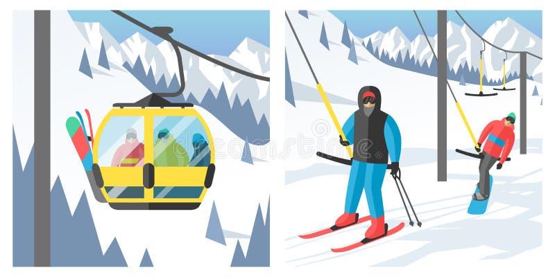 Snowboarder сидя в векторе скачки остатков гондолы лыжи и людей сноуборда курорта спорта зимы лифтов подъема поднимаясь иллюстрация вектора