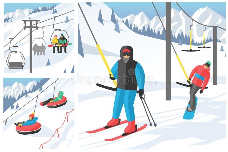 Snowboarder сидя в векторе скачки остатков гондолы лыжи и людей сноуборда курорта спорта зимы лифтов подъема поднимаясь бесплатная иллюстрация