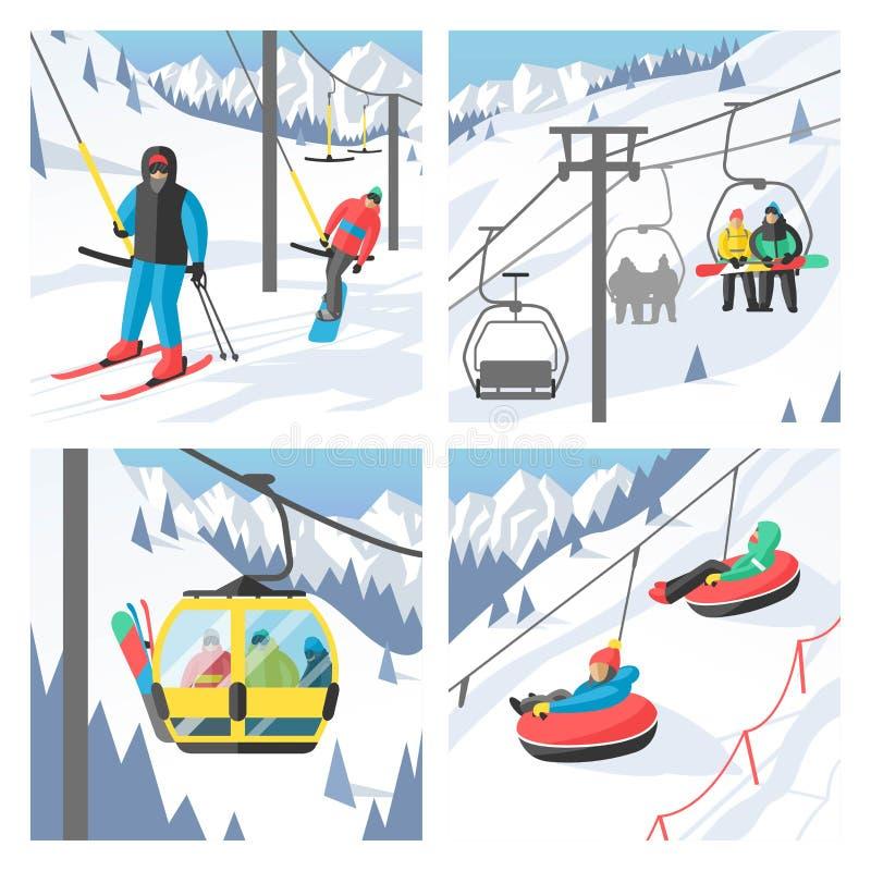 Snowboarder сидя в гондоле и подъеме лыжи иллюстрация вектора