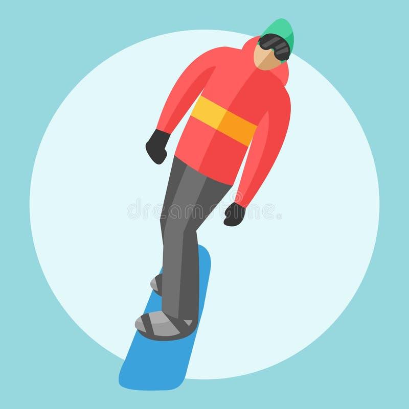 Snowboarder сидя в лифтах гондолы и подъема лыжи Предпосылка курорта спорта зимы иллюстрация вектора