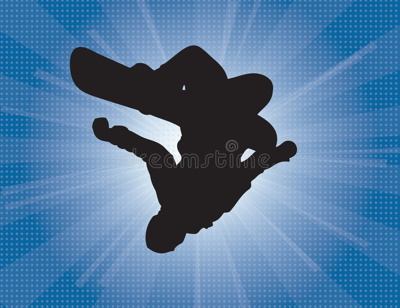 Snowboarder. An sihloutte vector illustration of a inverted snowboarder with a winter blast background stock illustration