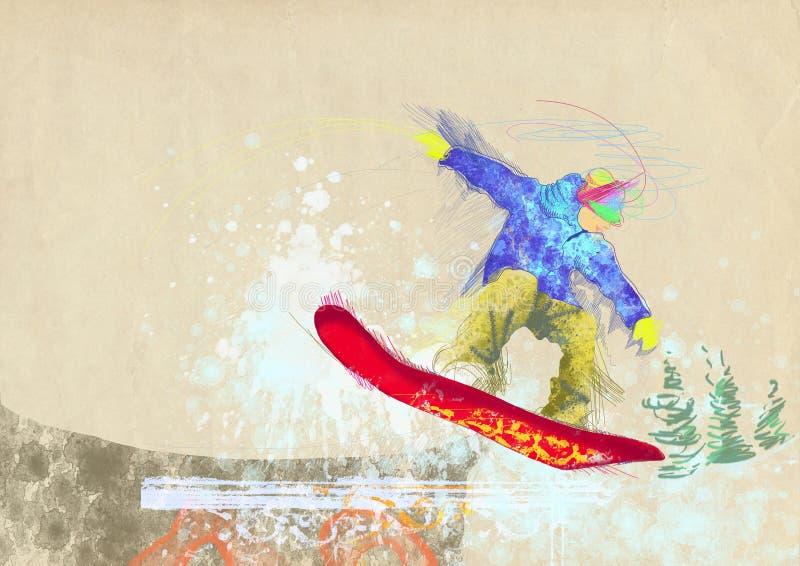 Snowboarder ilustração royalty free