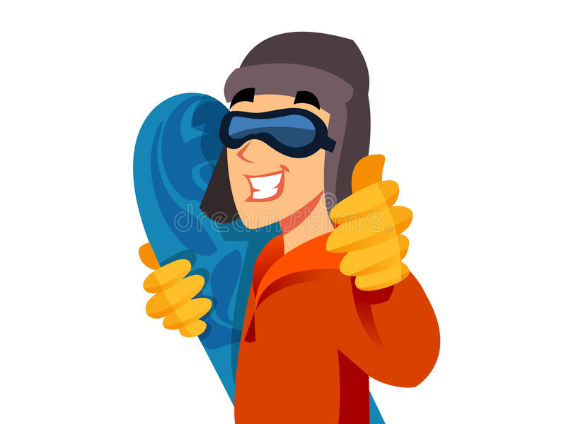 Snowboarder. Cool snowboarder man posing with thumb up stock illustration