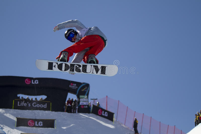 Snowboarder in action stock photos
