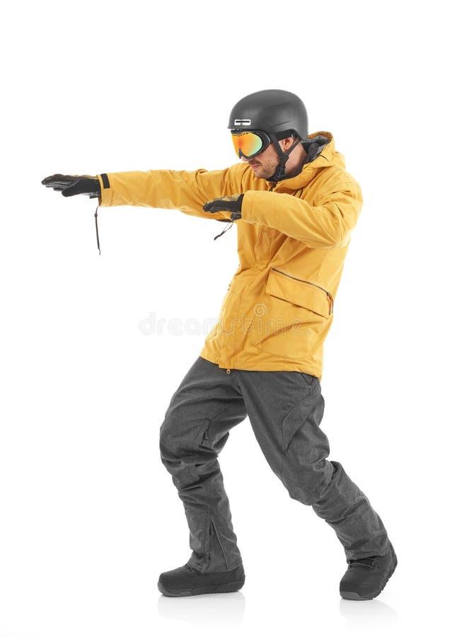 Snowboarder alegre en blanco fotografía de archivo libre de regalías