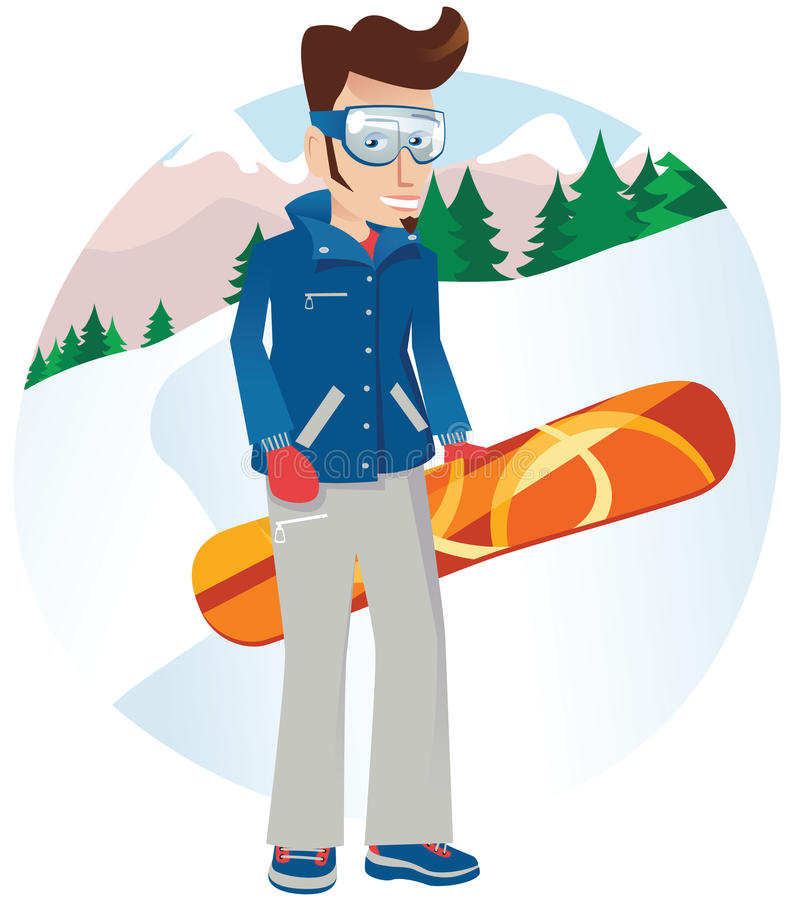 Snowboarder boy. A man posing with his snowboard on a hillside. E.P.S. 10 vector file included with image royalty free illustration