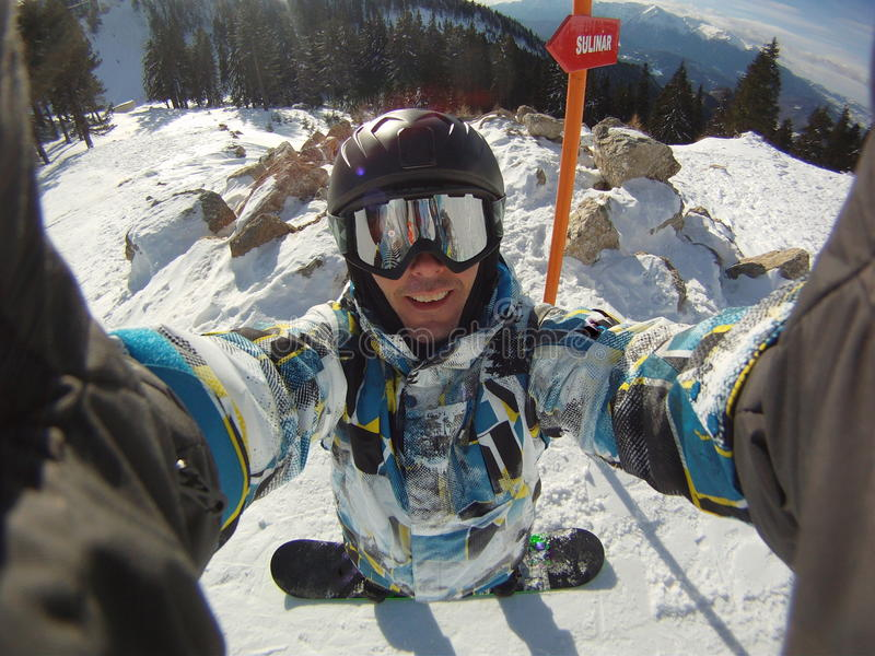Snowboarder caricatured self-portrait royalty free stock images