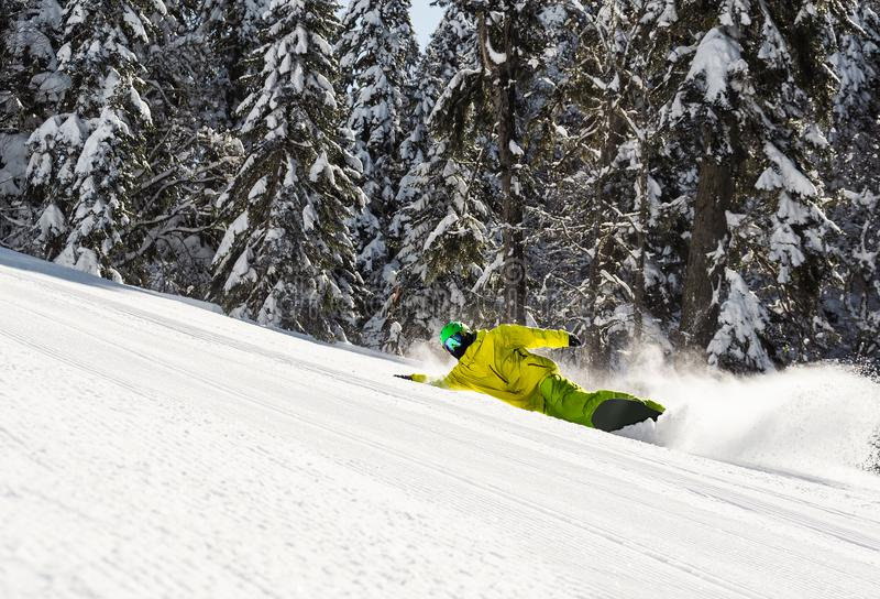 Snowboarder carving on ski slope stock photo