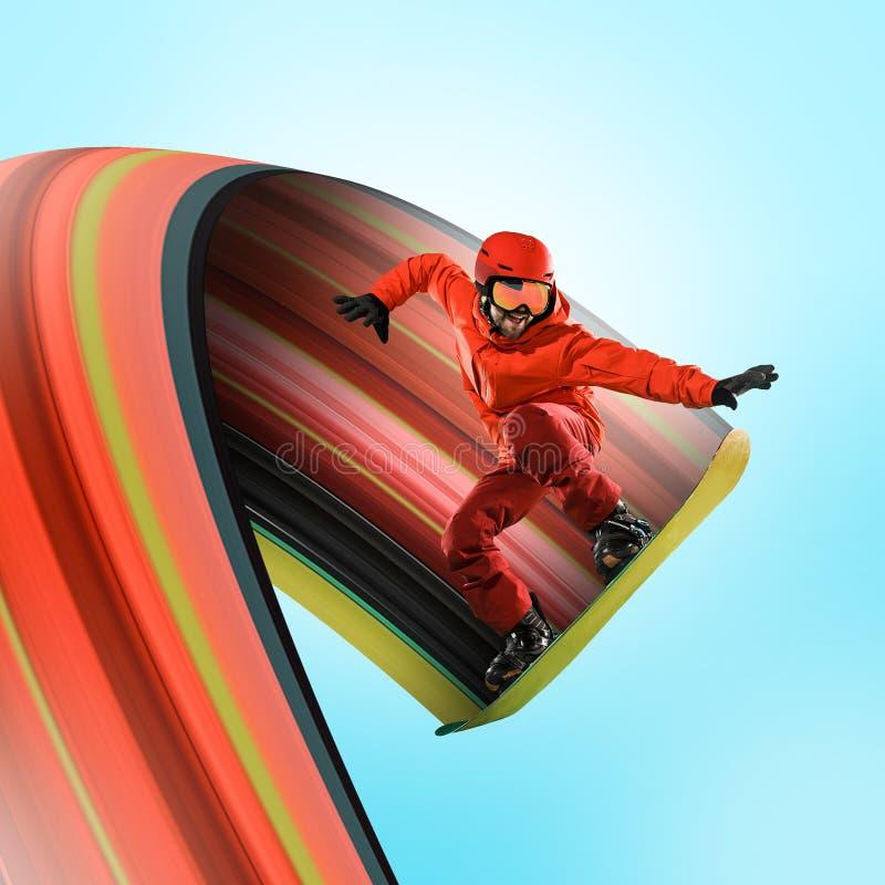 Snowboarder caucasiano profissional na ação fotografia de stock