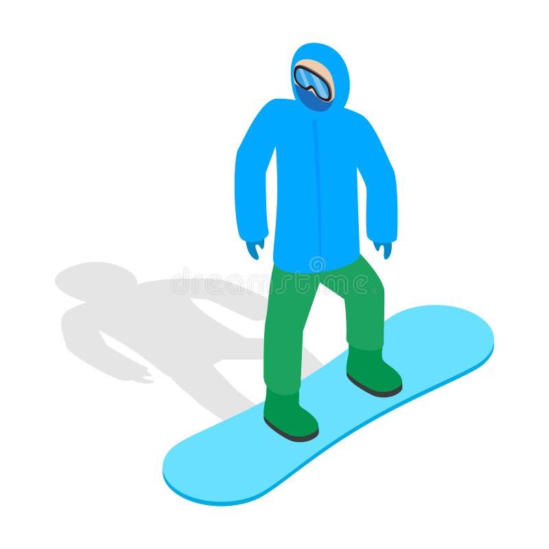 Snowboarder com ícone da plataforma do snowboard ilustração stock