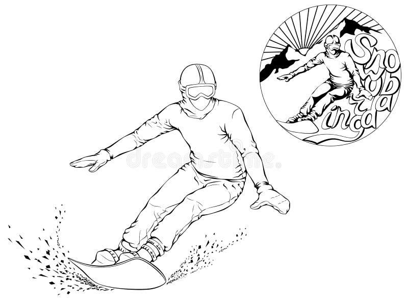 Snowboarder com uma placa em seus ombros ilustração stock