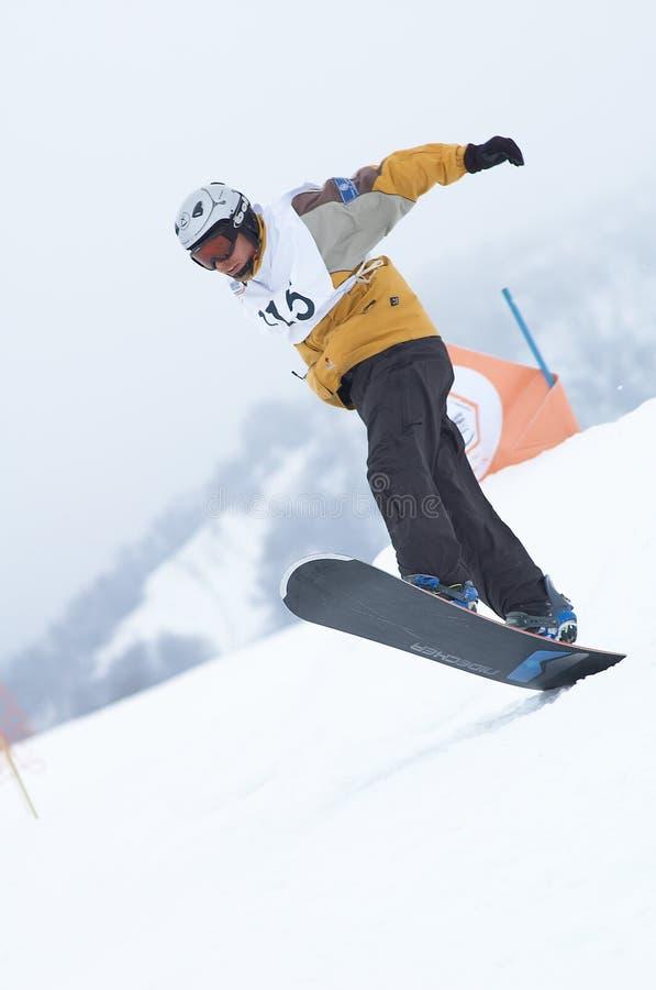 Snowboarder dans le chemin image libre de droits