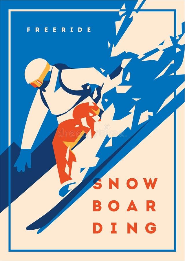 Snowboarder de Freeride no movimento Cartaz ou emblema do esporte ilustração do vetor