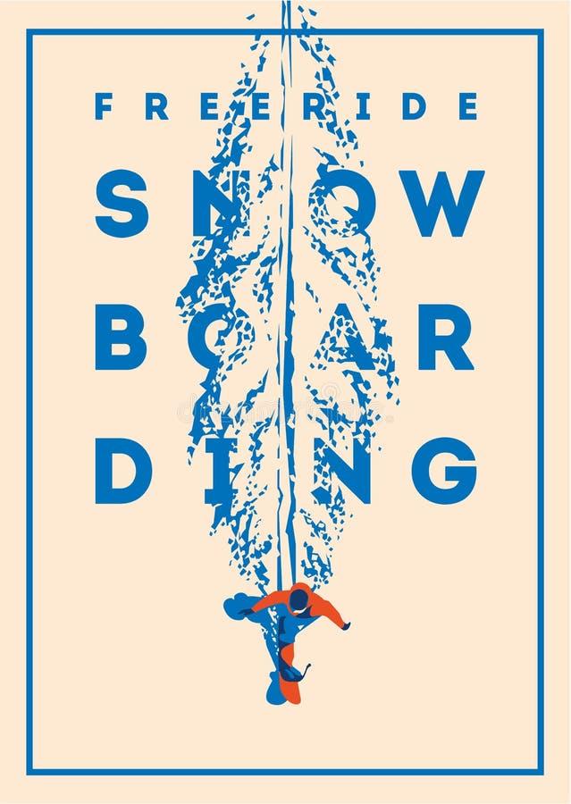 Snowboarder de Freeride no movimento Cartaz ou emblema do esporte ilustração stock