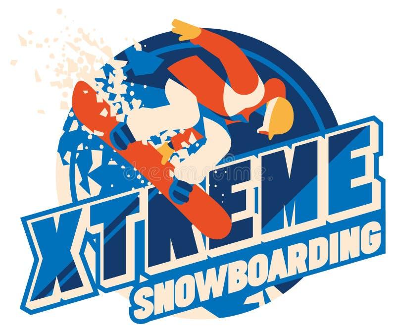 Snowboarder de Freeride no movimento Logotipo ou emblema do esporte ilustração stock