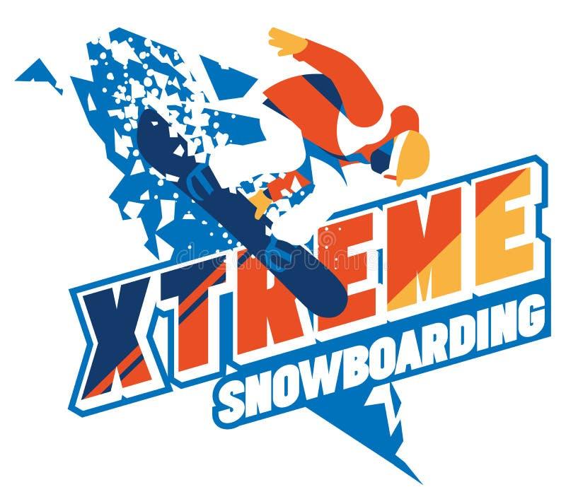 Snowboarder de Freeride no movimento Logotipo ou emblema do esporte ilustração royalty free