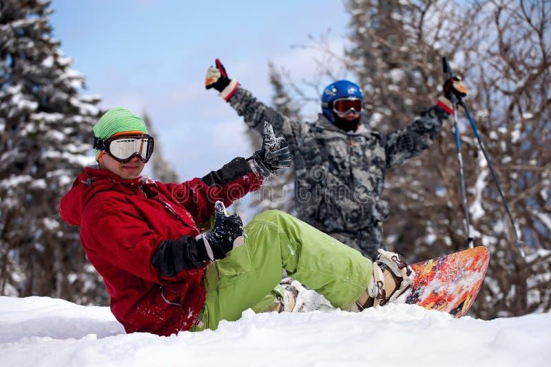 Snowboarder deux image libre de droits