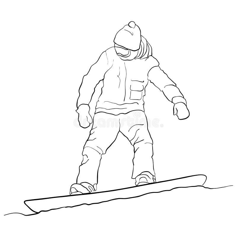 Snowboarder do desenho do vetor ilustração stock