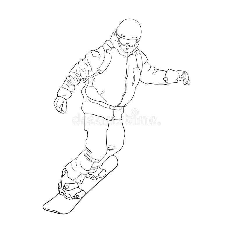 Snowboarder do desenho do vetor ilustração do vetor