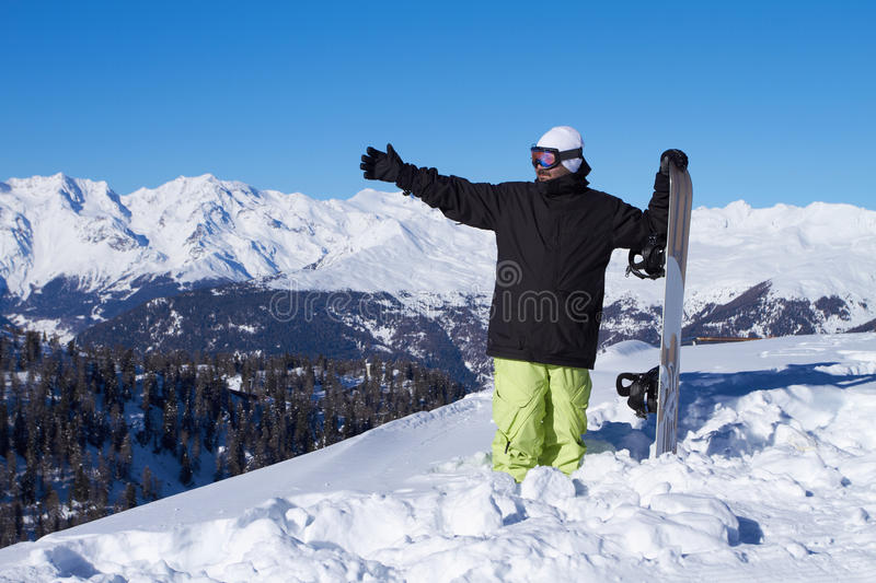 Download Snowboarder in Dolomites stock image. Image of person - 17845527