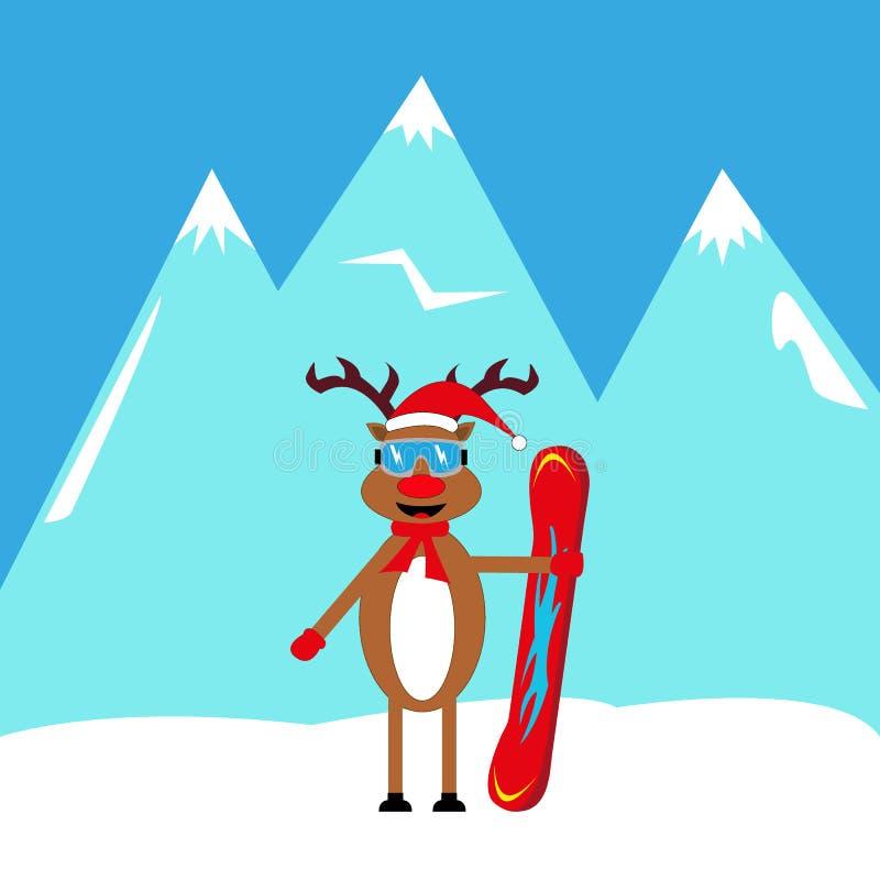 Snowboarder dos cervos dos desenhos animados nas montanhas ilustração royalty free
