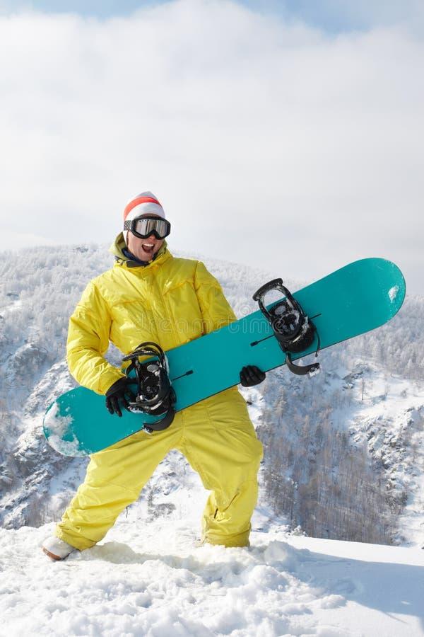 Snowboarder drôle photo stock
