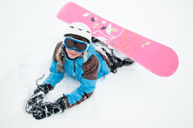 Snowboarder en tormenta de la nieve fotos de archivo
