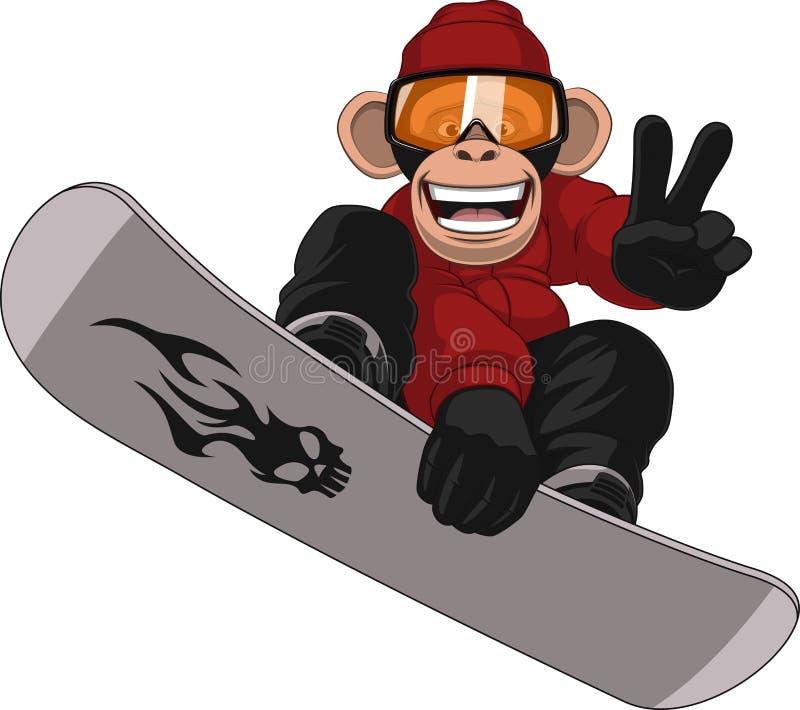 Snowboarder engraçado do macaco ilustração do vetor