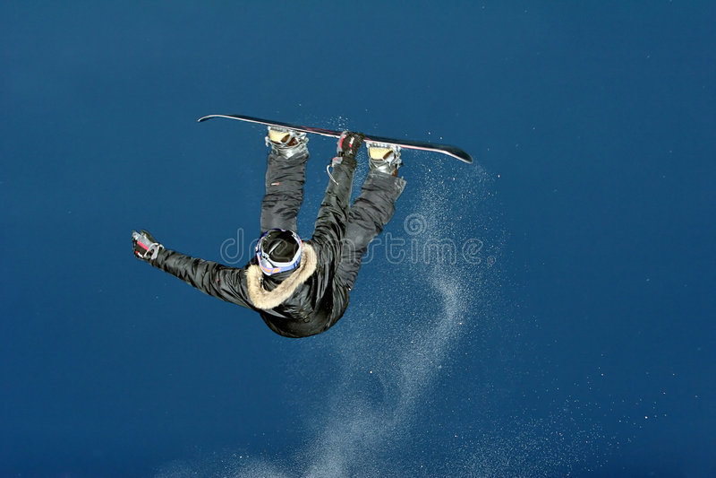 Snowboarder extremo fotografia de stock