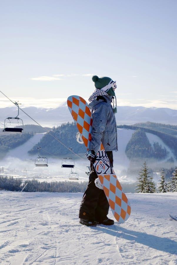 Snowboarder fêmea novo imagem de stock