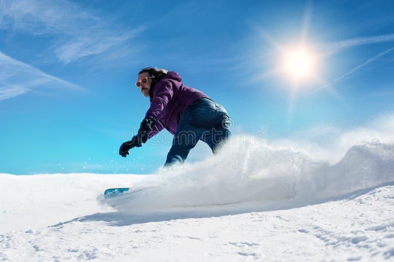 Snowboarder freerider lizenzfreie stockfotos