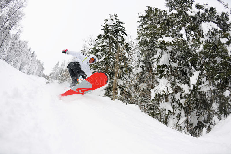 Download Snowboarder On Fresh Deep Snow Stock Photo - Image of excitement, slope: 23796930