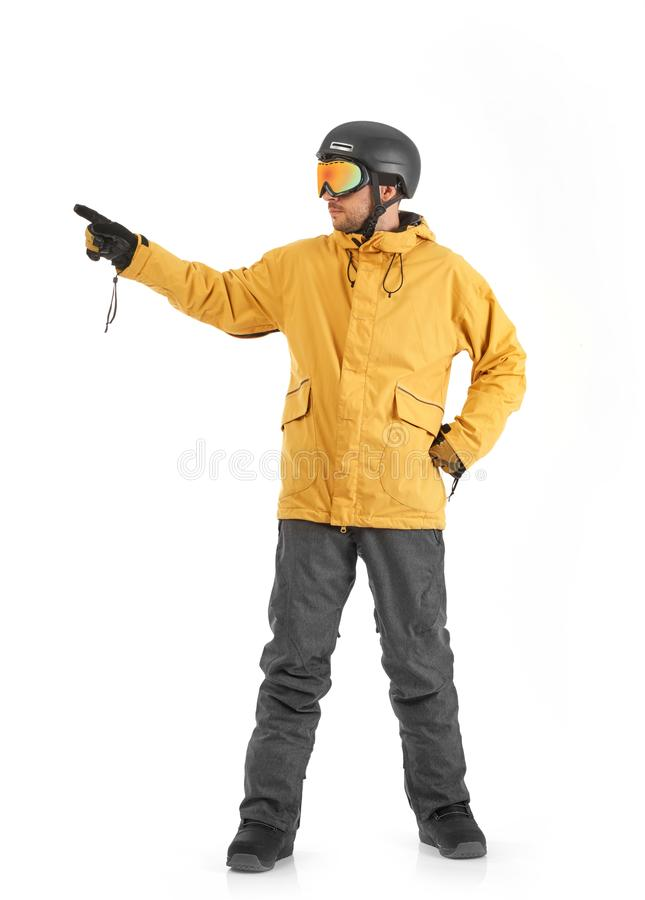 Snowboarder gesturing on white royalty free stock photo