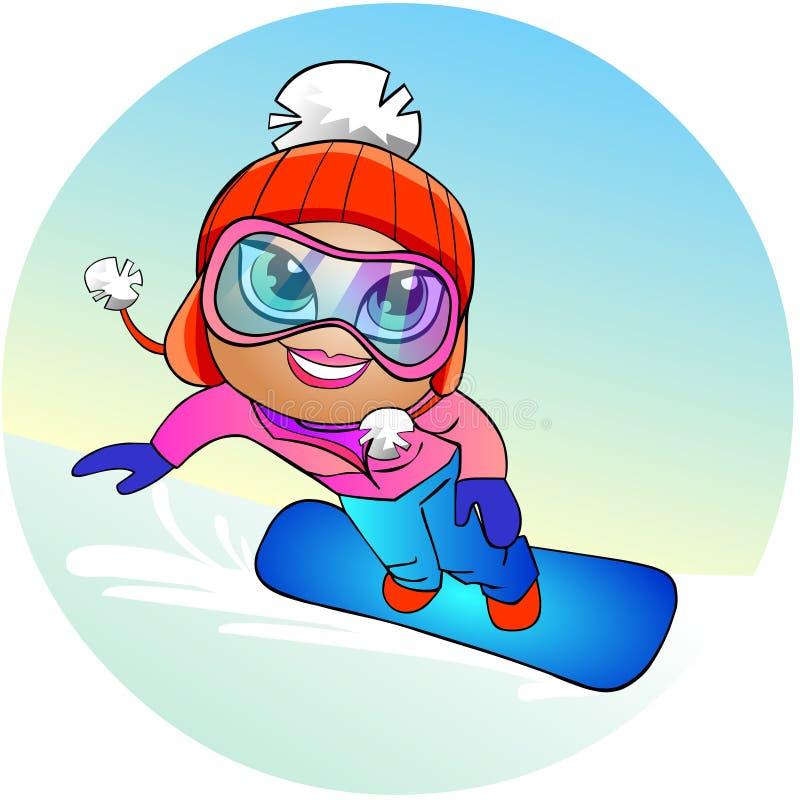 Snowboarder girl stock illustration