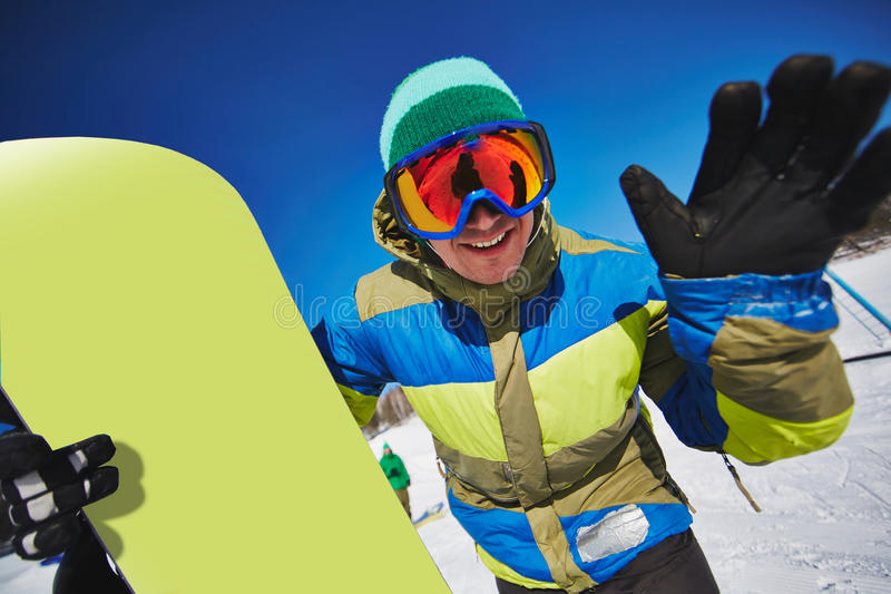 Snowboarder heureux images libres de droits