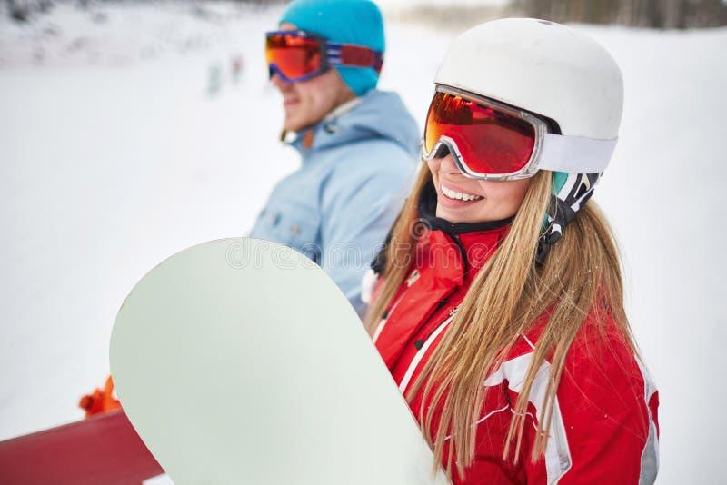 Snowboarder heureux image libre de droits