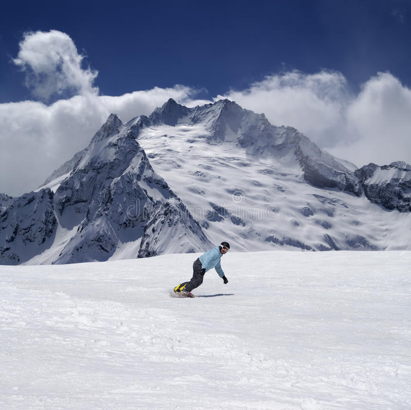 Download Snowboarder In High Mountains Stock Image - Image: 21054759