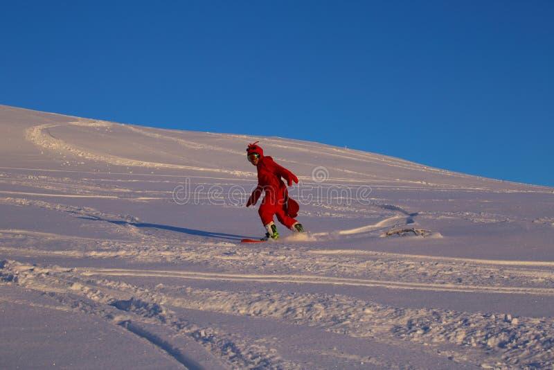 Snowboarder i rolig räkadräkt royaltyfria foton