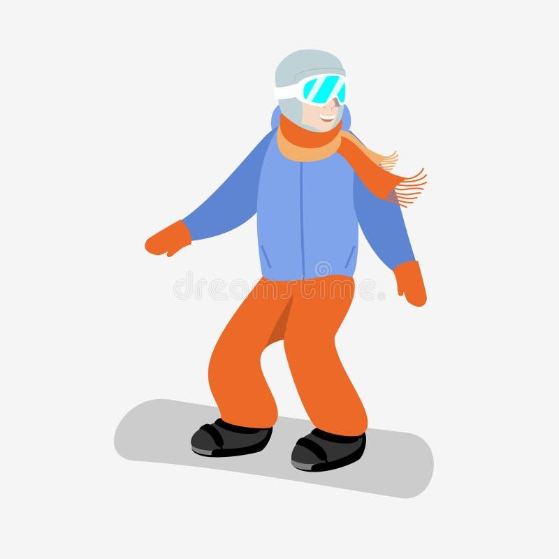 Snowboarder i skyddsglasögon i blått ner omslaget och orange flåsanden på en vit bakgrund stock illustrationer