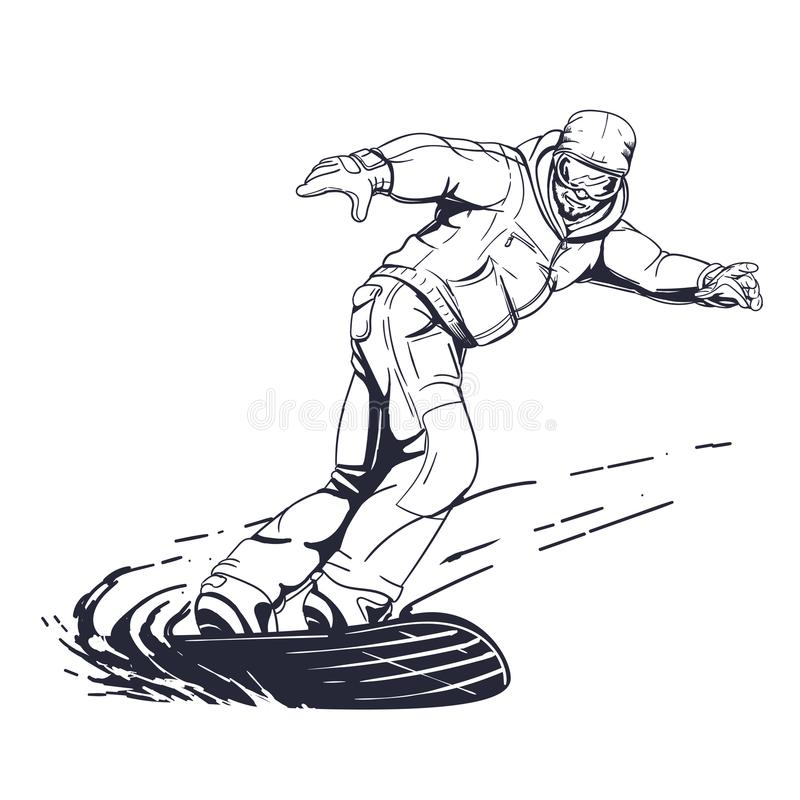Snowboarder illustration in hand drawn style stock images