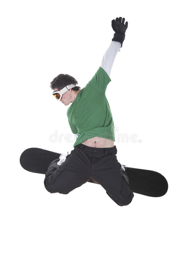 Snowboarder isolated on white royalty free stock photography