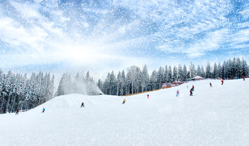 Snowboarder at jump royalty free stock photography