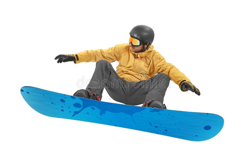 Snowboarder jump on white royalty free stock image
