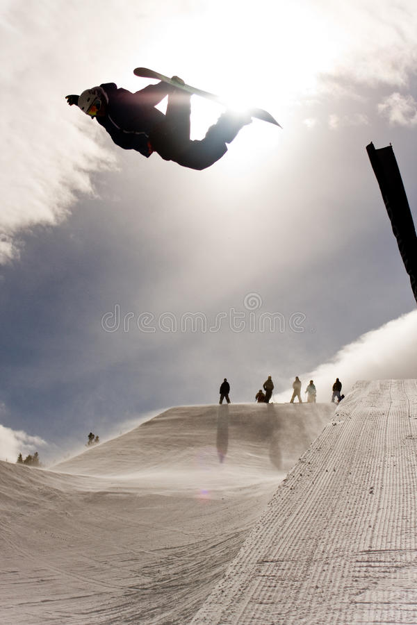 Free Snowboarder Jumping In Halfpipe Royalty Free Stock Image - 13512056