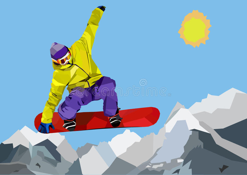 Snowboarder jumping in mountains vector illustration