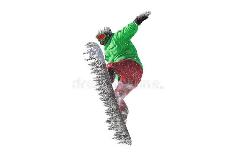Snowboarder jumps freeride powder forest stock photography